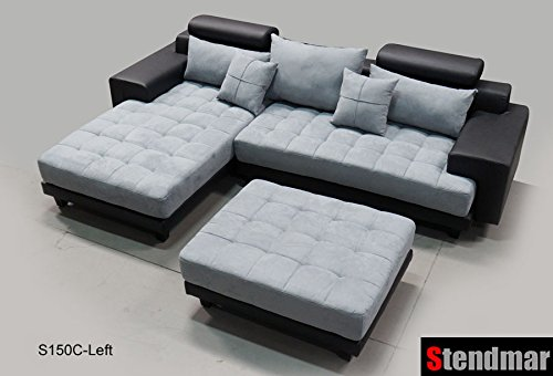 3PC Modern Black Grey Sectional Sofa Chaise Ottoman S150CLBG - Best ...