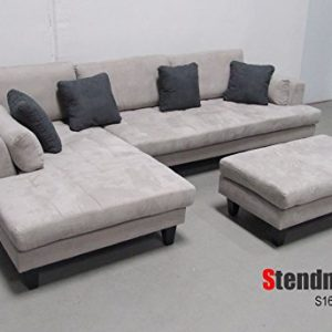 3pc Contemporary Grey Microfiber Sectional Sofa Chaise Ottoman ...