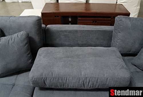 3pc New Modern Dark Grey Microfiber Sectional Sofa Chaise