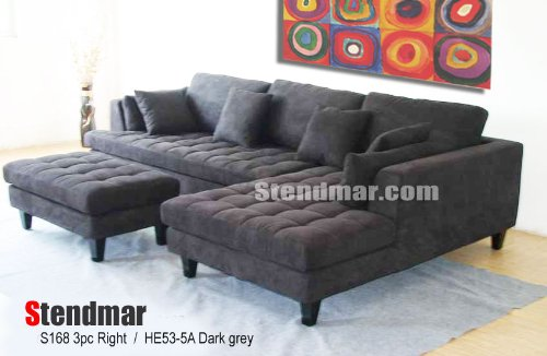 3pc new modern dark grey microfiber sectional sofa chaise for Black microfiber sectional sofa with chaise