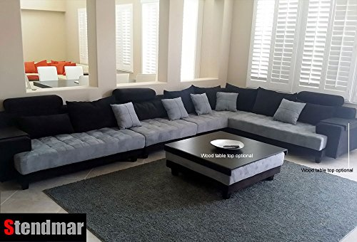 5pc Multifunction 2-tone Microfiber Big Sectional Sofa Set S150RBG ...