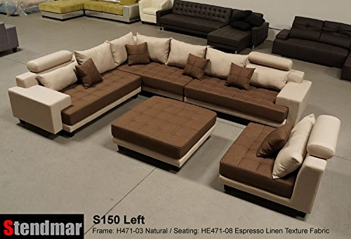 5pc multifunction 2-Tone Linen Texture Fabric Big Sectional Sofa ...
