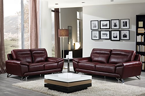 High Quality Cortesi Home Phoenix Genuine Leather Sofa Collection Merlot