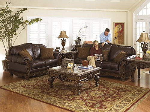North shore top grain leather dark brown color old world sofa best sofas online usa - North shore living room set ...