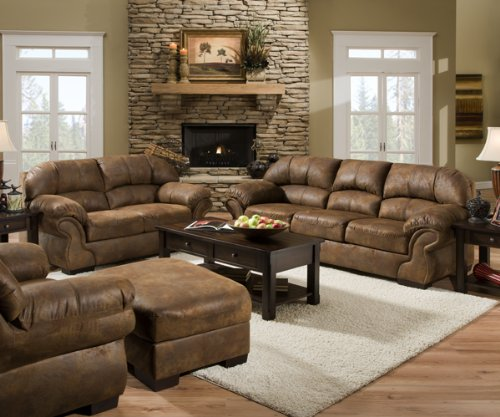 Pinto Tobacco Leather Look Fabric Sofa - Best Sofas Online USA