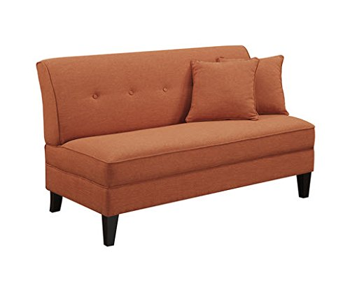 Portfolio Engle Modern Orange Linen Armless Loveseat Settee Small Sofa Best Sofas Online Usa