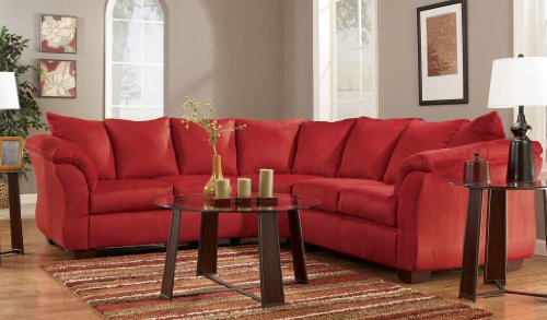 Red Upholstery Fabric Sectional By Ashley Furniture Best Sofas Online Usa