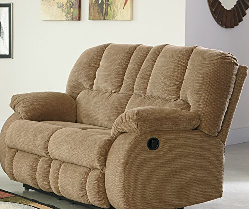 Roan contemporary mocha fabric reclining loveseat best for Fabric reclining living room sets