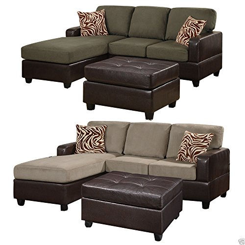 1perfectchoice 3 pcs reversible sofa sectional set chaise for Sectional sofa reversible chaise living room furniture