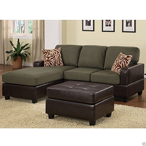 best sofa for small living room 1perfectchoice 3 pcs reversible sofa sectional set chaise 25743