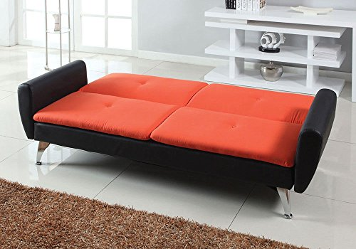 1perfectchoice kimber accent living room adjustable sofa bed sleeper futon orange black pu - Contemporary sectional sleeper sofa a good choice for your home ...