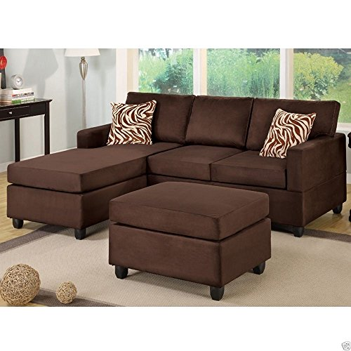 1perfectchoice Microfiber Sofa Sectional Set Reversible Chaise Ottoman Couch Small Room Option