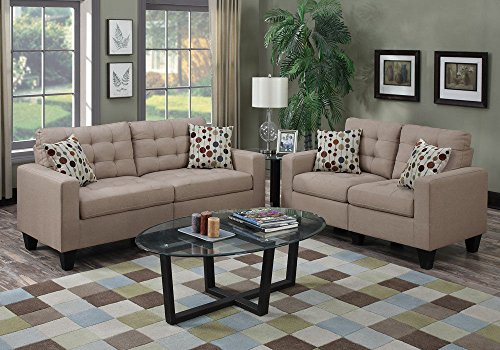 1perfectchoice Modern 2 Seater Sofa Set Couch Loveseat Tufted Seat