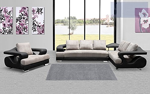 2 Pcs Sectional Chair Faux Leather Dove Grey Black Color Left