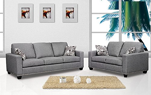 2 Piece Sofa Set Loveseat Dark Grey