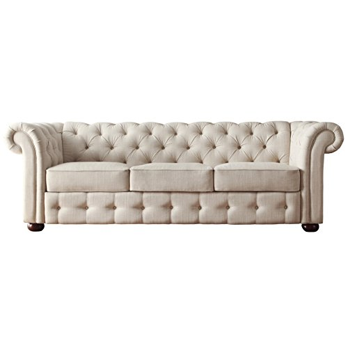 Classic Scroll Arm Button Tufted Chesterfield Style Beige Sofa Best Sofas Online USA