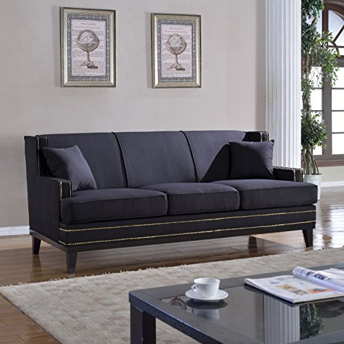Classic traditional soft linen sofa with nailhead trim
