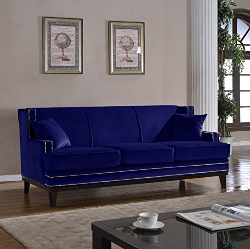 Classic traditional soft velvet sofa with nailhead trim for Blue grey couch