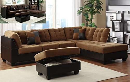 Faux leather caramel espresso color 3 piece sectional set for Bartlett caramel left corner chaise sectional