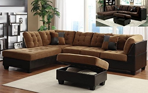 Faux Leather Caramel Espresso Color 3 Piece Sectional Set Ottoman Available In Left Or Right