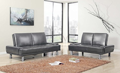Faux leather platinum color 2 piece adjustable futon sofa bed sofa loveseat living room 2 piece leather living room set