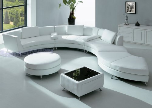 Modern Furniture White Leather Sectional Sofa With Ottoman And