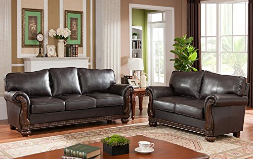 Sofa loveseat 2 piece modern sofa set chocolate color cherry wood trim bonded leather living 2 piece leather living room set