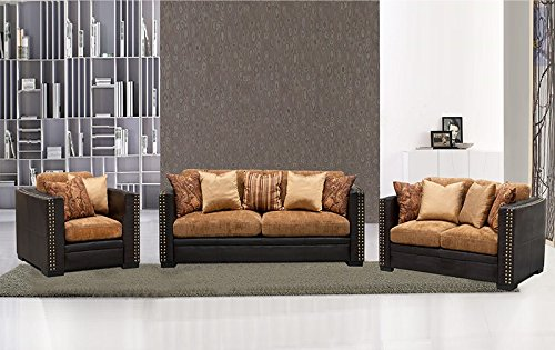 Sofa Loveseat Chair Modern 3 Pcs Set Caramel Espresso Color